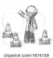 Poster, Art Print Of Sketch Doctor Scientist Man Standing By Traffic Cones Waving