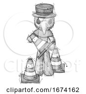 Sketch Plague Doctor Man Holding A Traffic Cone