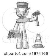 Sketch Plague Doctor Man Under Construction Concept Traffic Cone And Tools