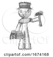 Sketch Plague Doctor Man Holding Tools And Toolchest Ready To Work