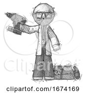 Sketch Doctor Scientist Man Holding Drill Ready To Work Toolchest And Tools To Right