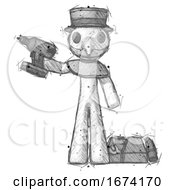 Sketch Plague Doctor Man Holding Drill Ready To Work Toolchest And Tools To Right