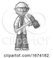 Sketch Doctor Scientist Man Holding Hammer Ready To Work