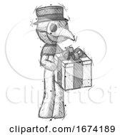 Sketch Plague Doctor Man Giving A Present