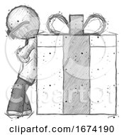 Sketch Doctor Scientist Man Gift Concept Leaning Against Large Present