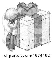 Sketch Doctor Scientist Man Leaning On Gift With Bow Angle View