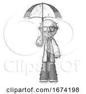 Sketch Doctor Scientist Man Holding Umbrella