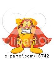 Wedge Of Orange Swiss Cheese Mascot Cartoon Character In A Super Hero Cape And Mask