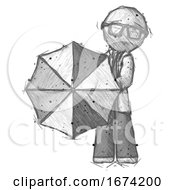 Sketch Doctor Scientist Man Holding Rainbow Umbrella Out To Viewer