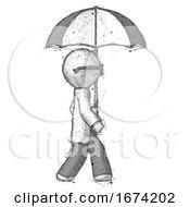 Sketch Doctor Scientist Man Woman Walking With Umbrella