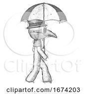 Sketch Plague Doctor Man Woman Walking With Umbrella