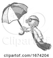 Sketch Doctor Scientist Man Flying With Umbrella