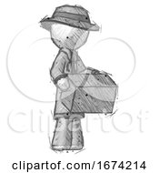 Sketch Detective Man Holding Package To Send Or Recieve In Mail