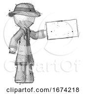 Sketch Detective Man Holding Large Envelope