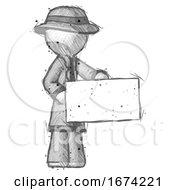 Sketch Detective Man Presenting Large Envelope