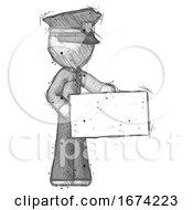 Sketch Police Man Presenting Large Envelope