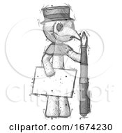 Poster, Art Print Of Sketch Plague Doctor Man Holding Large Envelope And Calligraphy Pen