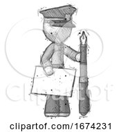 Poster, Art Print Of Sketch Police Man Holding Large Envelope And Calligraphy Pen