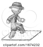 Sketch Detective Man On Postage Envelope Surfing