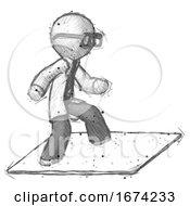 Sketch Doctor Scientist Man On Postage Envelope Surfing