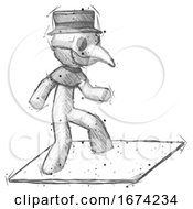 Sketch Plague Doctor Man On Postage Envelope Surfing