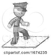 Sketch Police Man On Postage Envelope Surfing
