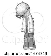Sketch Doctor Scientist Man Depressed With Head Down Turned Left