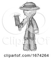 Sketch Detective Man Holding Meat Cleaver