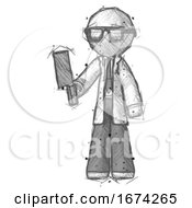 Poster, Art Print Of Sketch Doctor Scientist Man Holding Meat Cleaver