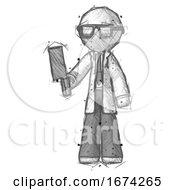 Sketch Doctor Scientist Man Holding Meat Cleaver