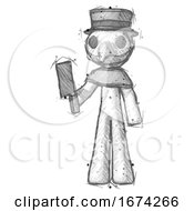 Poster, Art Print Of Sketch Plague Doctor Man Holding Meat Cleaver