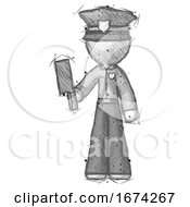 Poster, Art Print Of Sketch Police Man Holding Meat Cleaver