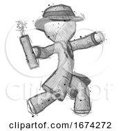Sketch Detective Man Throwing Dynamite