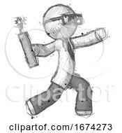 Sketch Doctor Scientist Man Throwing Dynamite