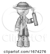 Poster, Art Print Of Sketch Detective Man Holding Dynamite With Fuse Lit