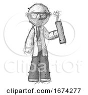 Poster, Art Print Of Sketch Doctor Scientist Man Holding Dynamite With Fuse Lit