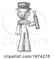 Poster, Art Print Of Sketch Plague Doctor Man Holding Dynamite With Fuse Lit