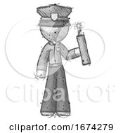 Sketch Police Man Holding Dynamite With Fuse Lit