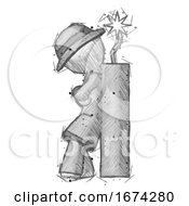 Poster, Art Print Of Sketch Detective Man Leaning Against Dynimate Large Stick Ready To Blow
