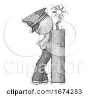 Poster, Art Print Of Sketch Police Man Leaning Against Dynimate Large Stick Ready To Blow