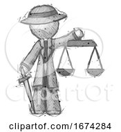 Sketch Detective Man Justice Concept With Scales And Sword Justicia Derived