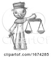 Poster, Art Print Of Sketch Plague Doctor Man Justice Concept With Scales And Sword Justicia Derived