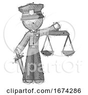 Poster, Art Print Of Sketch Police Man Justice Concept With Scales And Sword Justicia Derived