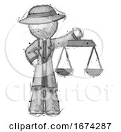 Poster, Art Print Of Sketch Detective Man Holding Scales Of Justice