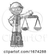 Sketch Doctor Scientist Man Holding Scales Of Justice