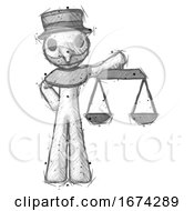 Sketch Plague Doctor Man Holding Scales Of Justice