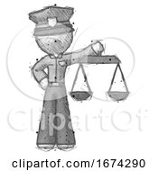 Poster, Art Print Of Sketch Police Man Holding Scales Of Justice
