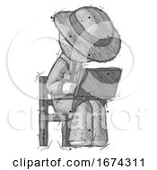 Sketch Detective Man Using Laptop Computer While Sitting In Chair Angled Right