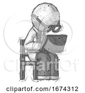 Sketch Doctor Scientist Man Using Laptop Computer While Sitting In Chair Angled Right