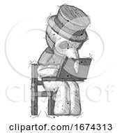 Sketch Plague Doctor Man Using Laptop Computer While Sitting In Chair Angled Right